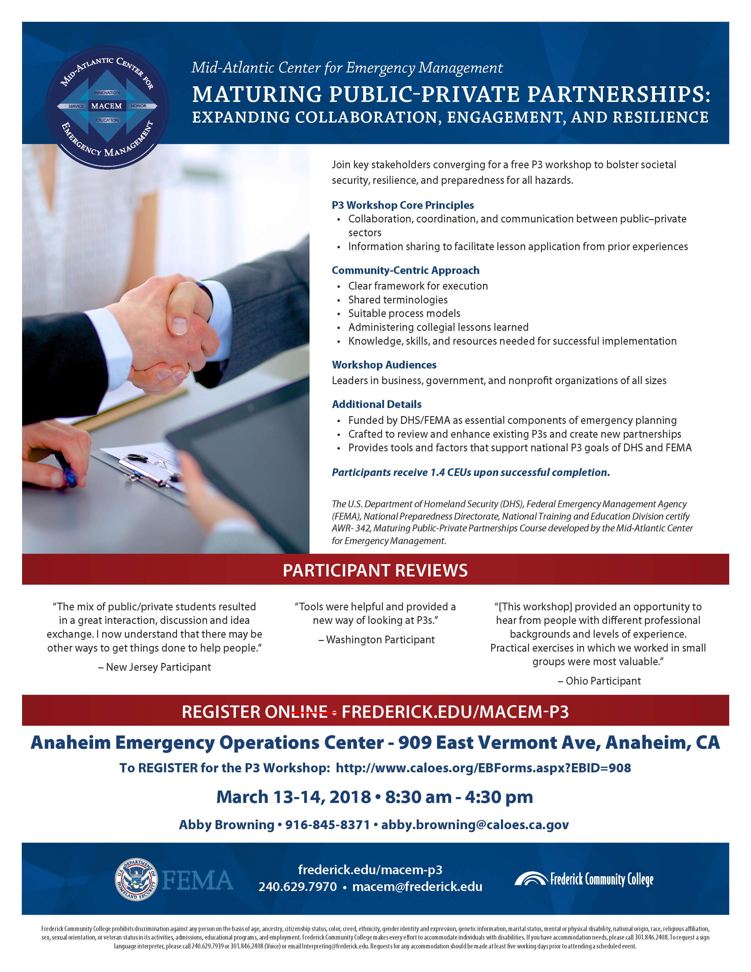 Maturing Public-Private Partnerships (P3) Workshop